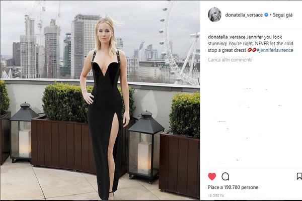 Donatella Versace tweet a favore di Jennifer Lawrence